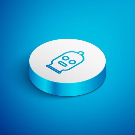 Isometric line Balaclava icon isolated on blue background. A piece of clothing for winter sports or a mask for a criminal or a thief. White circle button. Vector Illustration
