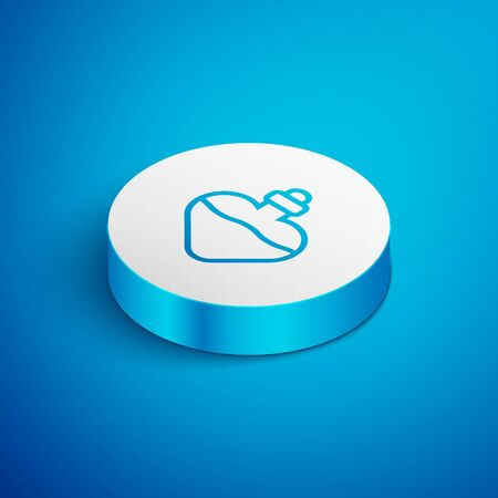 Isometric line Bottle with love potion icon isolated on blue background. Valentines day symbol. White circle button. Vector Illustration