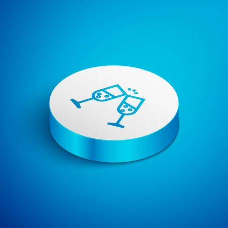Isometric line Glass of champagne icon isolated on blue background. White circle button. Vector Illustration