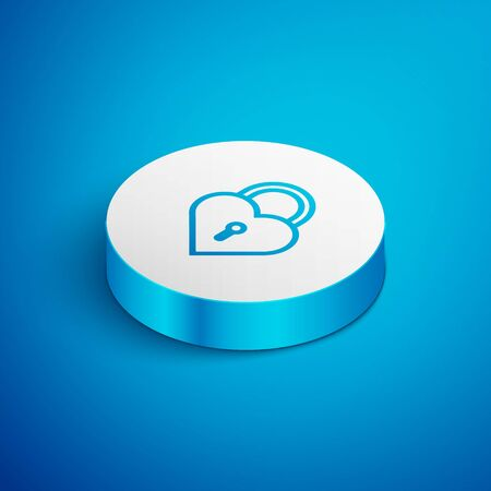 Isometric line Castle in the shape of a heart icon isolated on blue background. Locked Heart. Love symbol and keyhole sign. White circle button. Vector Illustration
