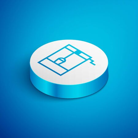 Isometric line Well with a bucket and drinking water icon isolated on blue background. White circle button. Vector Illustration