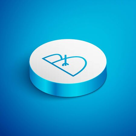 Isometric line Bale of hay and rake icon isolated on blue background. White circle button. Vector Illustration