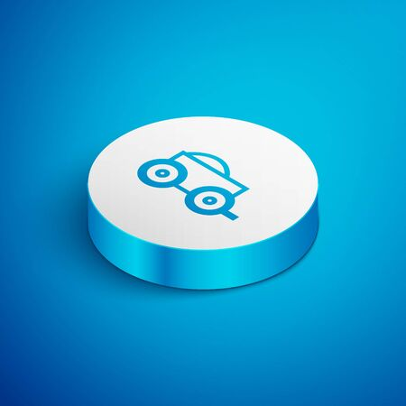 Isometric line Wooden four-wheel cart with hay icon isolated on blue background. White circle button. Vector Illustration