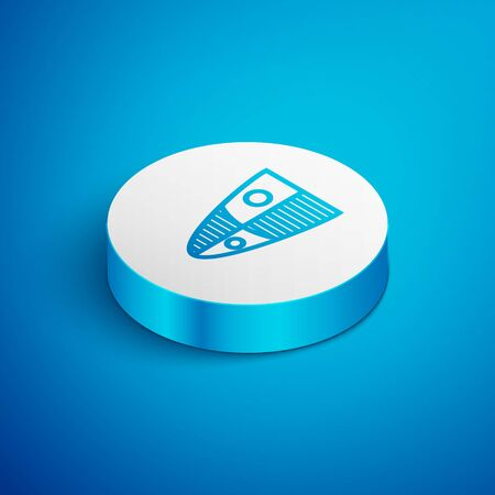 Isometric line Shield icon isolated on blue background. Guard sign. Security, safety, protection, privacy concept. White circle button. Vector Illustration