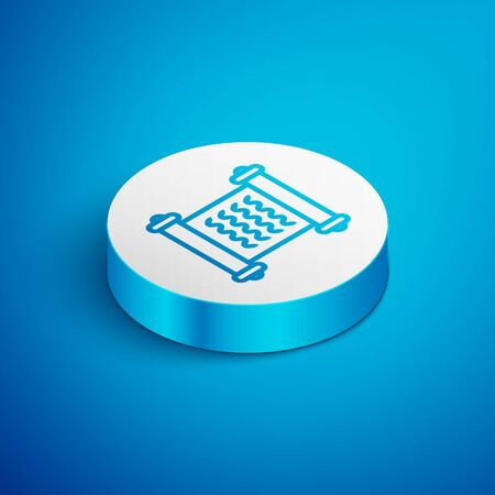 Isometric line Decree, paper, parchment, scroll icon icon isolated on blue background. White circle button. Vector Illustration