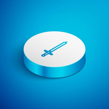 Isometric line Medieval sword icon isolated on blue background. Medieval weapon. White circle button. Vector Illustration Ilustrace
