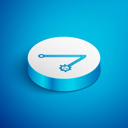 Isometric line Medieval chained mace ball icon isolated on blue background. Medieval weapon. White circle button. Vector Illustration Vectores