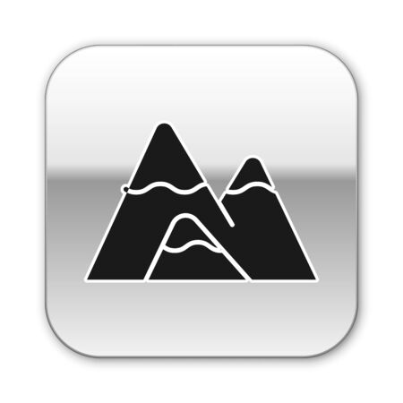 Black Mountains icon isolated on white background. Symbol of victory or success concept. Silver square button. Vector Illustration