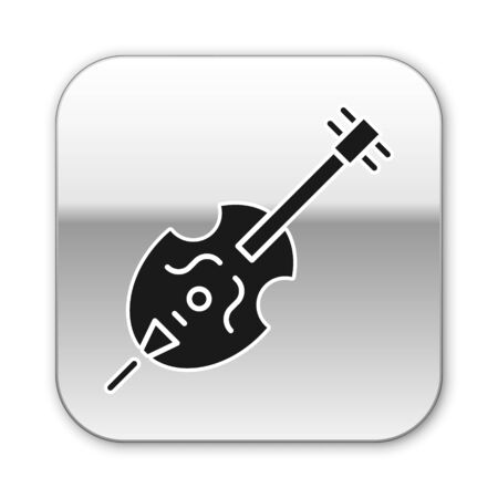 Black Violin icon isolated on white background. Musical instrument. Silver square button. Vector Illustration Ilustrace