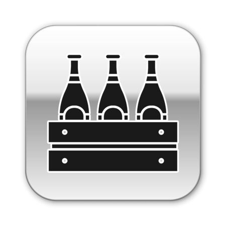 Black Pack of beer bottles icon isolated on white background. Wooden box and beer bottles. Case crate beer box sign. Silver square button. Vector Illustration