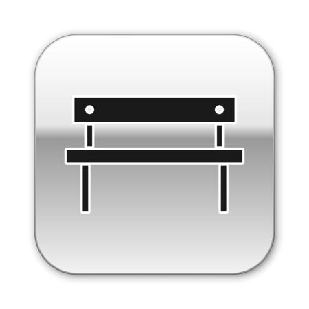 Black Bench icon isolated on white background. Silver square button. Vector Illustration