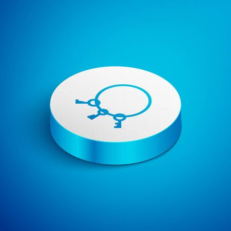 Isometric line Old keys icon isolated on blue background. White circle button. Vector Illustration