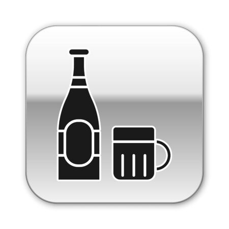 Black Beer bottle and glass icon isolated on white background. Alcohol Drink symbol. Silver square button. Vector Illustration Çizim