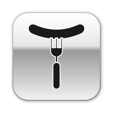 Black Sausage on the fork icon isolated on white background. Grilled sausage and aroma sign. Silver square button. Vector Illustration