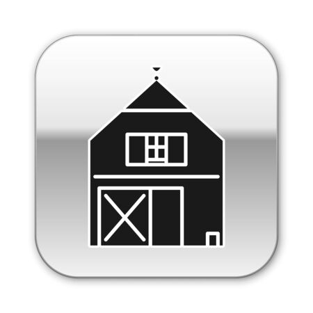 Black Farm House concept icon isolated on white background. Rustic farm landscape. Silver square button. Vector Illustration