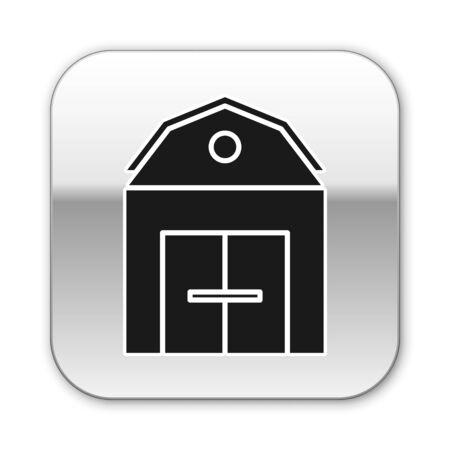Black Farm House concept icon isolated on white background. Rustic farm landscape. Silver square button. Vector Illustration