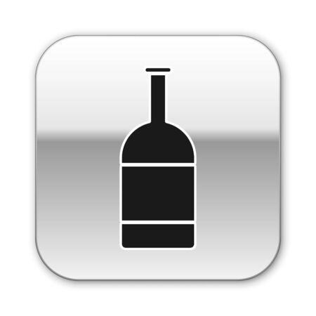 Black Beer bottle icon isolated on white background. Silver square button. Vector Illustration