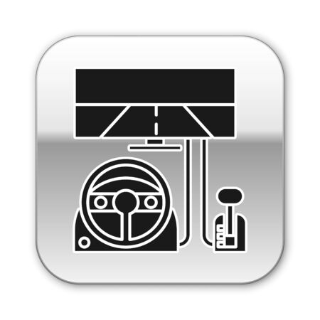 Black Racing simulator cockpit icon isolated on white background. Gaming accessory. Gadget for driving simulation game. Silver square button. Vector Illustration Illustration
