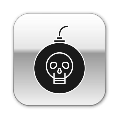 Black Bomb ready to explode icon isolated on white background. Happy Halloween party. Silver square button. Vector Illustration