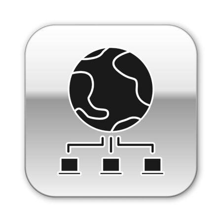 Black Computer network icon isolated on white background. Online gaming. Laptop network. Internet connection. Silver square button. Vector Illustration