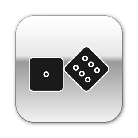 Black Game dice icon isolated on white background. Casino gambling. Silver square button. Vector Illustration