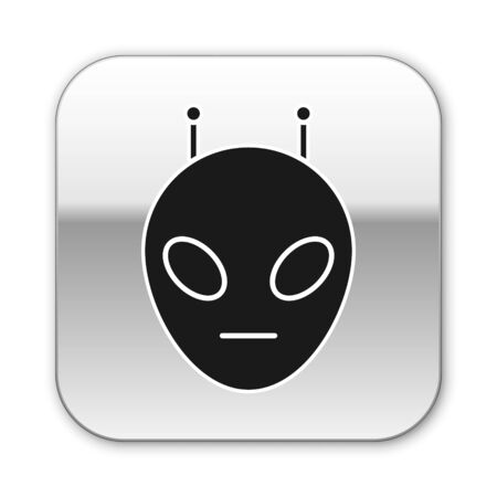 Black Alien icon isolated on white background. Extraterrestrial alien face or head symbol. Silver square button. Vector Illustration