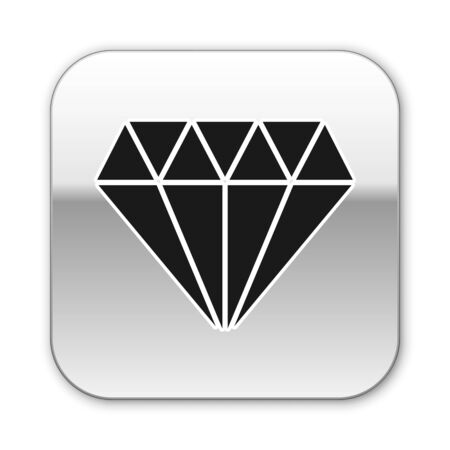 Black Diamond icon isolated on white background. Jewelry symbol. Gem stone. Silver square button. Vector Illustration