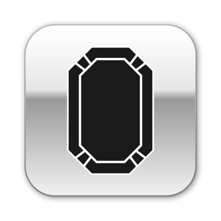 Black Poker table icon isolated on white background. Silver square button. Vector Illustration
