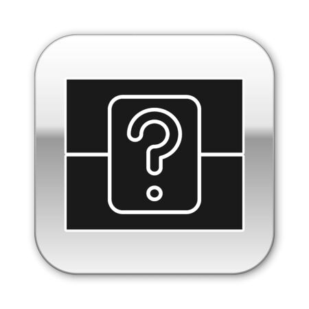 Black Mystery box or random loot box for games icon isolated on white background. Question box. Silver square button. Vector Illustration Ilustrace