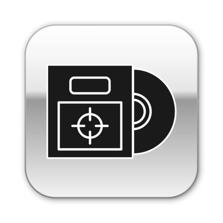 Black CD or DVD disk in box icon isolated on white background. Compact disc sign. Silver square button. Vector Illustration