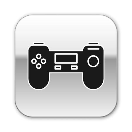 Black Gamepad icon isolated on white background. Game controller. Silver square button. Vector Illustration Ilustrace