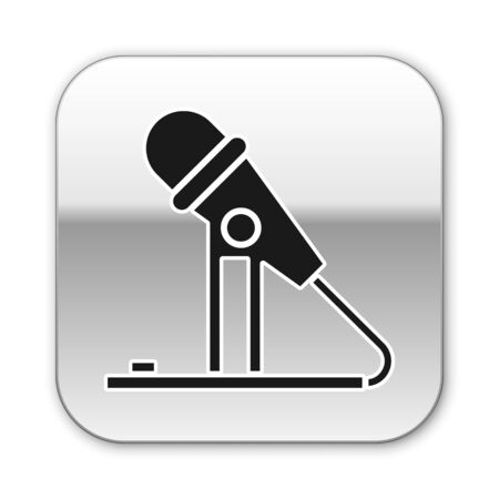 Black Microphone icon isolated on white background. On air radio mic microphone. Speaker sign. Silver square button. Vector Illustration Çizim