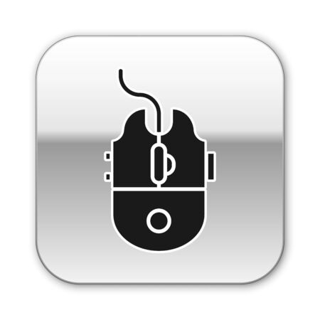 Black Computer mouse gaming icon isolated on white background. Optical with wheel symbol. Silver square button. Vector Illustration