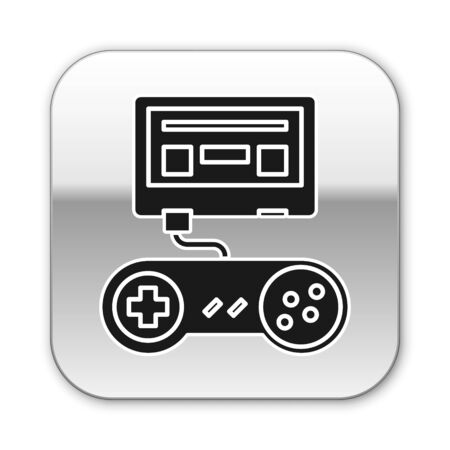 Black Video game console with joystick icon isolated on white background. Silver square button. Vector Illustration