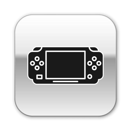 Black Portable video game console icon isolated on white background. Gamepad sign. Gaming concept. Silver square button. Vector Illustration