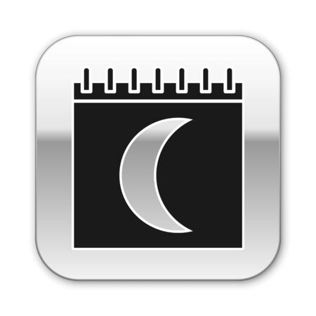 Black Moon phases calendar icon isolated on white background. Silver square button. Vector Illustration