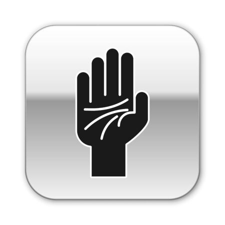 Black Palmistry of the hand icon isolated on white background. Silver square button. Vector Illustration
