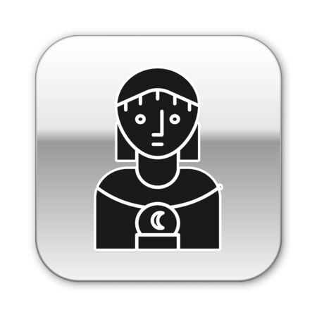 Black Astrology woman icon isolated on white background. Silver square button. Vector Illustration Illustration