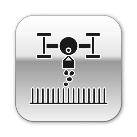Black Smart farm with drone control for seed planting icon isolated on white background. Innovation technology for agricultural company. Silver square button. Vector Illustration