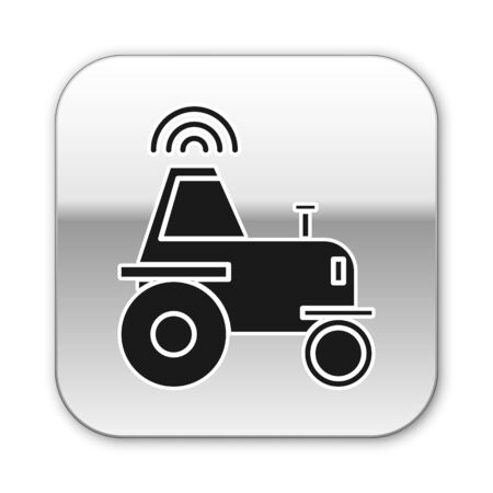 Black Self driving wireless tractor on a smart farm icon isolated on white background. Smart agriculture implement element. Silver square button. Vector Illustration