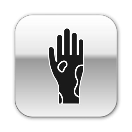 Black Hand with psoriasis or eczema icon isolated on white background. Concept of human skin response to allergen or chronic body problem. Silver square button. Vector Illustration