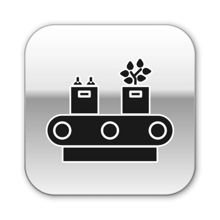 Black Conveyor belt with cardboard box icon isolated on white background. Silver square button. Vector Illustration Vectores