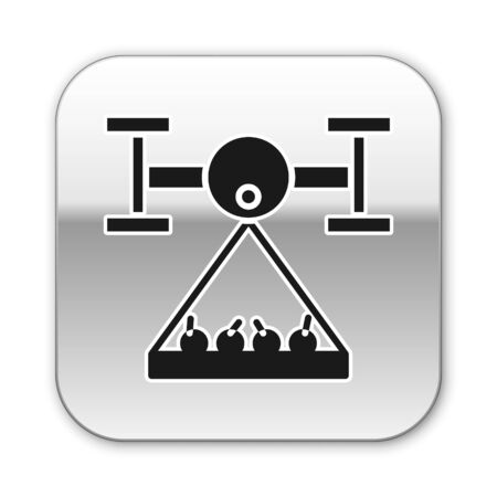 Black Smart farm with drone control collects harvest icon isolated on white background. Innovation technology for agricultural company. Silver square button. Vector Illustration