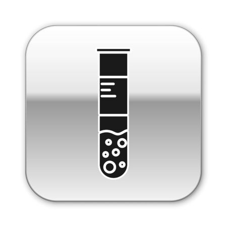 Black Test tube and flask chemical laboratory test icon isolated on white background. Laboratory glassware sign. Silver square button. Vector Illustration
