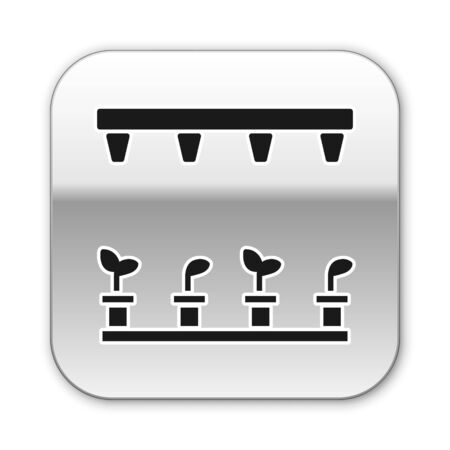 Black Automatic irrigation sprinklers icon isolated on white background. Watering equipment. Garden element. Spray gun icon. Silver square button. Vector Illustration Ilustração