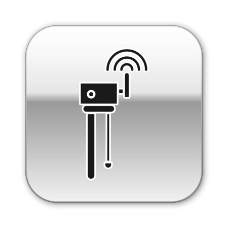 Black Router and wi-fi signal symbol icon isolated on white background. Wireless ethernet modem router. Computer technology internet. Silver square button. Vector Illustration
