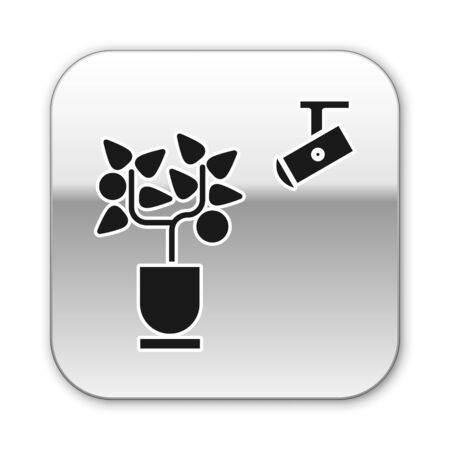 Black Smart farming technology - farm automation system in app icon isolated on white background. Silver square button. Vector Illustration Illustration