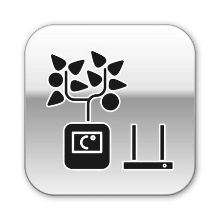 Black Smart farming technology - farm automation system in app icon isolated on white background. Silver square button. Vector Illustration Ilustração