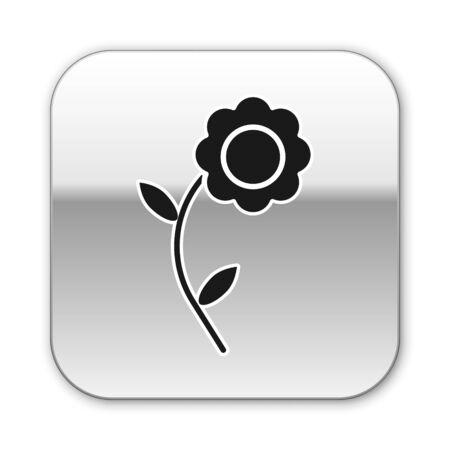 Black Flower icon isolated on white background. Silver square button. Vector Illustration Ilustração