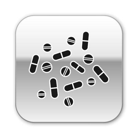 Black Medicine pill or tablet icon isolated on white background. Capsule pill and drug sign. Pharmacy design. Silver square button. Vector Illustration